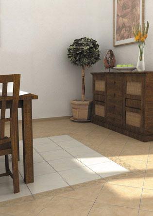 Напольная плитка Этна бежевый и белый интерьер 33х33