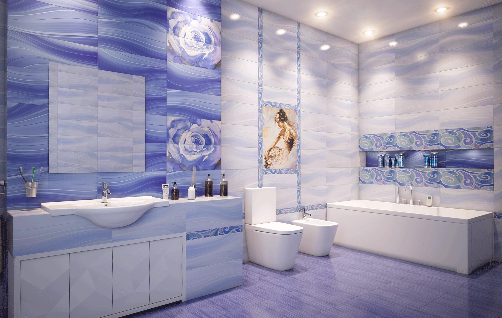Интерьер плитка Arabeski blue 25х60