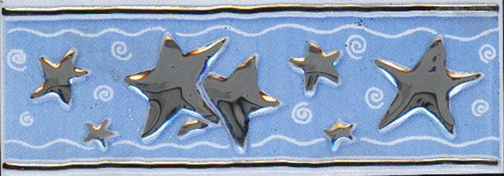 Керамическая плитка Каррара бордюр звезда 5,7х20
