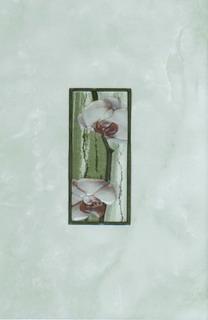 Керамическая плитка Каррара зелёная декор цветущая сакура 20х30