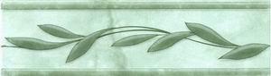 Керамическая плитка Каррара зелёная бордюр ветка 5,7х20