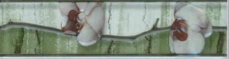 Керамическая плитка Каррара зелёная бордюр цветущая сакура 5,7х20