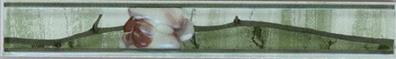 Керамическая плитка Каррара зелёная бордюр цветущая сакура 3,5х20