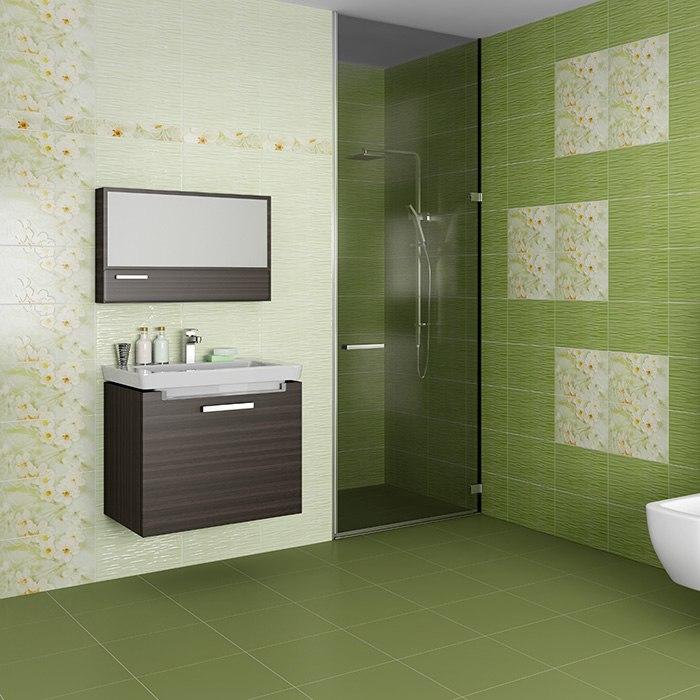 Интерьер плитка Сакура зеленый 25х40