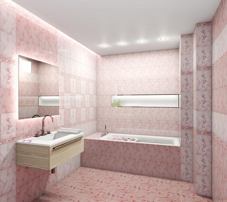 Интерьер плитка   София розовая 20х30